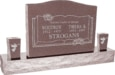36inch x 6inch x 24inch Serp Top Upright Headstone polished top, front and back with 60inch Base and two square tapered Vases in Desert Pink with design B-13