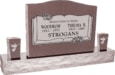 36inch x 6inch x 24inch Serp Top Upright Headstone polished top, front and back with 60inch Base and two square tapered Vases in Desert Pink with design B-13, Sanded Panel