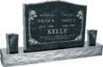36inch x 6inch x 24inch Serp Top Upright Headstone polished top, front and back with 60inch Base and two square tapered Vases in Emerald Pearl with design B-01