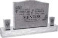 36inch x 6inch x 24inch Serp Top Upright Headstone polished top, front and back with 60inch Base and two square tapered Vases in Grey with design R-14