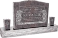 36inch x 6inch x 24inch Serp Top Upright Headstone polished top, front and back with 60inch Base and two square tapered Vases in Himalayan with design B-08