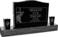 36inch x 6inch x 24inch Serp Top Upright Headstone polished top, front and back with 60inch Base and two square tapered Vases in Imperial Black with design R-14