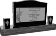 36inch x 6inch x 24inch Serp Top Upright Headstone polished top, front and back with 60inch Base and two square tapered Vases in Imperial Black with design R-14 Sanded Panel