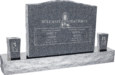 36inch_x_6inch_x_24inch_Serp_Top_Upright_Headstone_polished_top,_front_and_back_with_60inch_Base_and_two_square_tapered_Vases_in_Imperial_Grey_with_design_R-51
