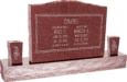 36inch_x_6inch_x_24inch_Serp_Top_Upright_Headstone_polished_top,_front_and_back_with_60inch_Base_and_two_square_tapered_Vases_in_Imperial_Red_with_design_F-117