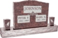 36inch_x_6inch_x_24inch_Serp_Top_Upright_Headstone_polished_top,_front_and_back_with_60inch_Base_and_two_square_tapered_Vases_in_Mahogany_with_design_F-112
