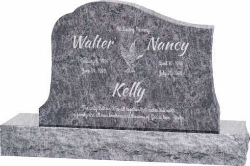 36inch x 6inch x 24inch Solitude Upright Headstone polished all sides with 48inch Base in Bahama Blue