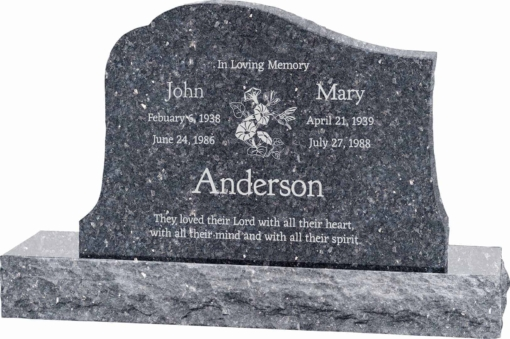 36inch x 6inch x 24inch Solitude Upright Headstone polished all sides with 48inch Base in Blue Pearl