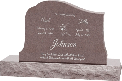 36inch x 6inch x 24inch Solitude Upright Headstone polished all sides with 48inch Base in Desert Pink