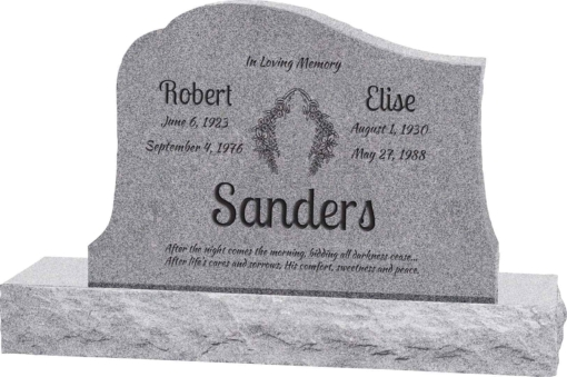 36inch x 6inch x 24inch Solitude Upright Headstone polished all sides with 48inch Base in Grey
