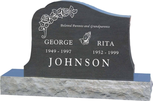 36inch x 6inch x 24inch Solitude Upright Headstone polished all sides with 48inch Base in Imperial Black
