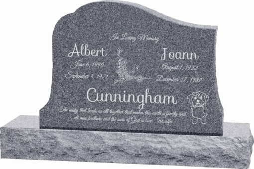 36inch x 6inch x 24inch Solitude Upright Headstone polished all sides with 48inch Base in Imperial Grey