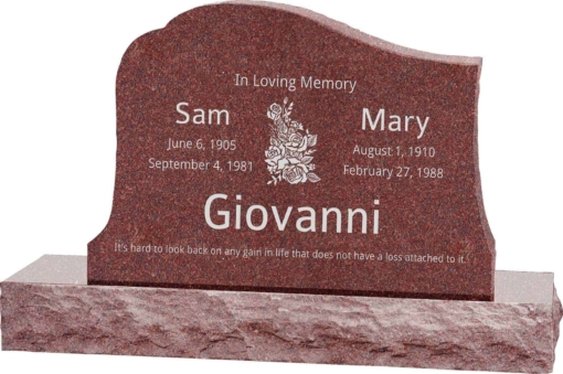 36inch x 6inch x 24inch Solitude Upright Headstone polished all sides with 48inch Base in Imperial Red