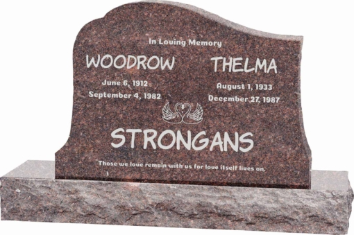 36inch x 6inch x 24inch Solitude Upright Headstone polished all sides with 48inch Base in Mahogany