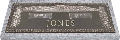 36x13 Dark Bronze Mountain Scene Trees Left Right with Granite Base Front Perspective