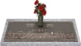 36x13 Dark Bronze Prairie Scene with Granite Base and Vase Front Perspective