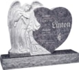 40inch_x_8inch_x_33inch_Leaning_Angel_Heart_Upright_Headstone_polished_all_sides_with_48inch_Base_in_Bahama_Blue_with_design_1
