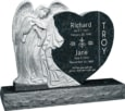 40inch_x_8inch_x_33inch_Leaning_Angel_Heart_Upright_Headstone_polished_all_sides_with_48inch_Base_in_Emerald_Pearl_with_design_1