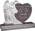 40 inch x 8 inch x 33 inch Leaning Angel Heart Upright Headstone polished all sides with 48 inch Base in Himalayan