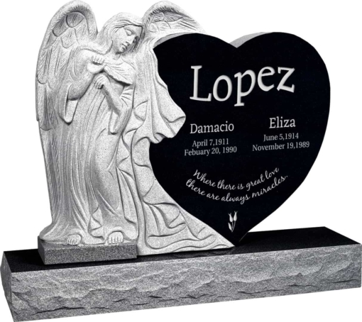 40 inch x 8 inch x 33 inch Leaning Angel Heart Upright Headstone polished all sides with 48 inch Base in Imperial Black