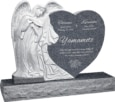 40 inch x 8 inch x 33 inch Leaning Angel Heart Upright Headstone polished all sides with 48 inch Base in Imperial Grey
