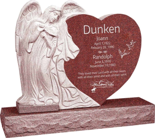 40 inch x 8 inch x 33 inch Leaning Angel Heart Upright Headstone polished all sides with 48 inch Base in Imperial Red