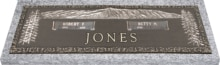 44x14 Dark Bronze Mountain Scene Trees Left & Right with Granite Base Front Perspective