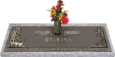 44x14 Dark Bronze Nature Scene with Granite Base and Vase Front Perspective