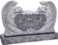 50 inch x 8 inch x 30 inch Double Angels and Hearts Upright Headstone polished all sides with 60 inch Base in Bahama Blue