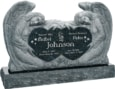 50 inch x 8 inch x 30 inch Double Angels and Hearts Upright Headstone polished all sides with 60 inch Base in Emerald Pearl
