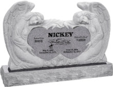 50 inch x 8 inch x 30 inch Double Angels and Hearts Upright Headstone polished all sides with 60 inch Base in Grey