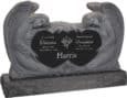 50 inch x 8 inch x 30 inch Double Angels and Hearts Upright Headstone polished all sides with 60 inch Base in Imperial Black