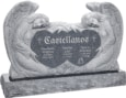 50 inch x 8 inch x 30 inch Double Angels and Hearts Upright Headstone polished all sides with 60 inch Base in Imperial Grey