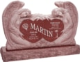 50 inch x 8 inch x 30 inch Double Angels and Hearts Upright Headstone polished all sides with 60 inch Base in Imperial Red