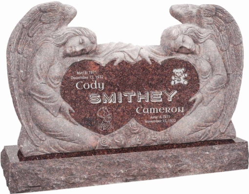 50 inch x 8 inch x 30 inch Double Angels and Hearts Upright Headstone polished all sides with 60 inch Base in Mahogany