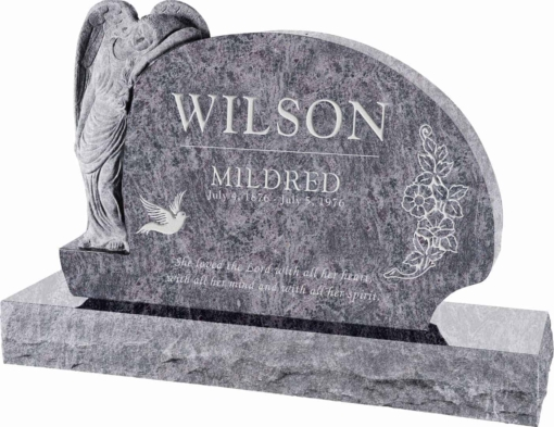 54 inch x 8 inch x 36 inch Resting Angel Upright Headstone polished all sides with 66 inch Base in Bahama Blue