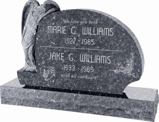 54 inch x 8 inch x 36 inch Resting Angel Upright Headstone polished all sides with 66 inch Base in Blue Pearl