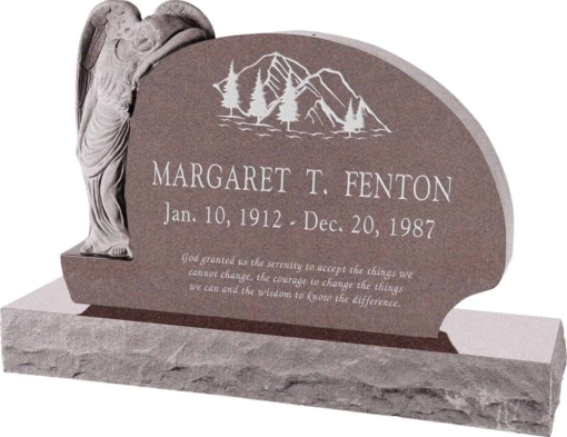 54 inch x 8 inch x 36 inch Resting Angel Upright Headstone polished all sides with 66 inch Base in Desert Pink