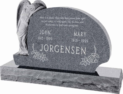 54 inch x 8 inch x 36 inch Resting Angel Upright Headstone polished all sides with 66 inch Base in Imperial Grey