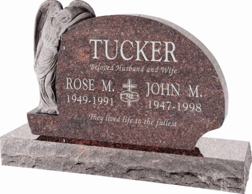 54 inch x 8 inch x 36 inch Resting Angel Upright Headstone polished all sides with 66 inch Base in Mahogany