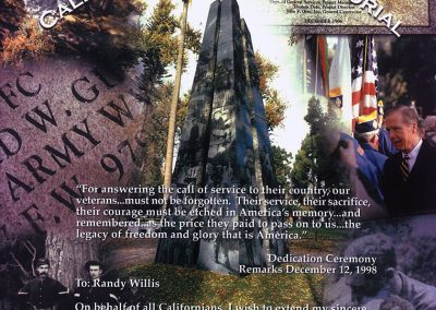 California Veterans Memorial Thank You from Governor Pete Wilson to Randy Willis of Honor Life