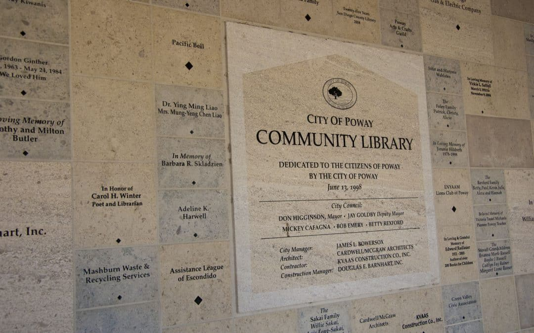 City of Poway Library donor wall