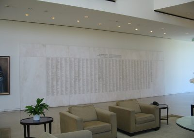 Crystal Cathedral white marble donor wall full view
