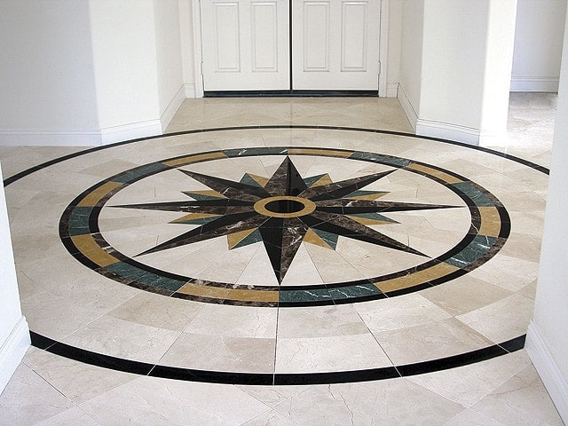 Custom Home waterjet floor medallion