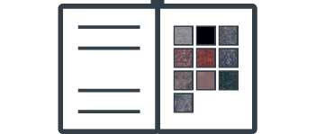 Catalog showing granite color options