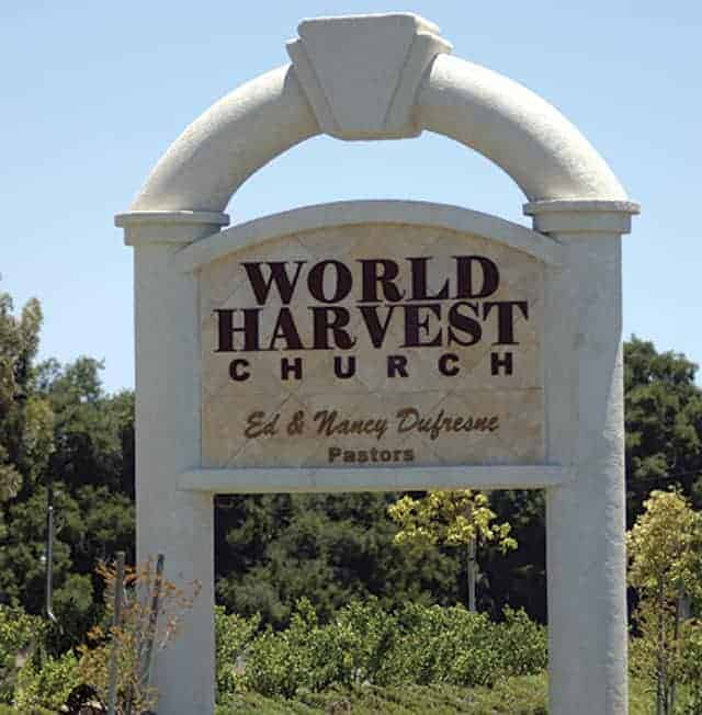 World Harvest Church waterjet sign
